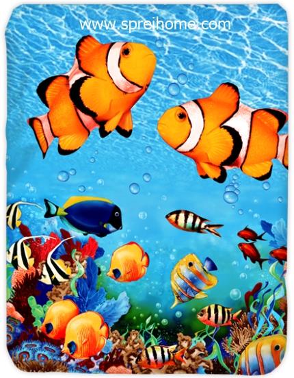 toko grosir murah Selimut Kendra Coral-Fish