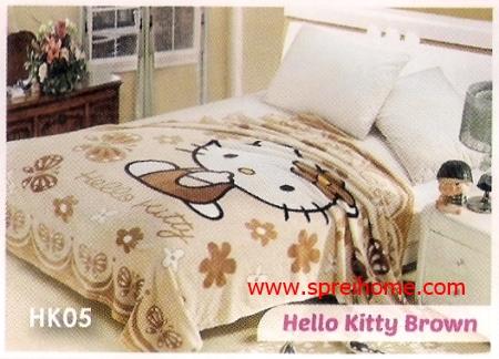 grosir murah Selimut Blossom HK05 Hello Kitty Brown