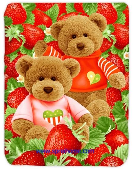 toko grosir murah Selimut Kendra Strawberry-Bear
