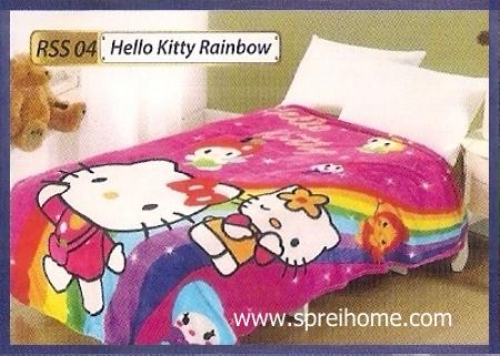toko grosir Selimut Rossinni Hello Kitty Rainbow