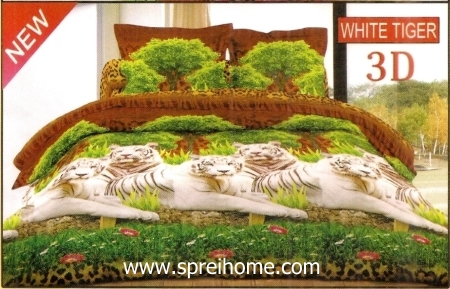 jual sprei bedcover Bonita 3D White Tiger
