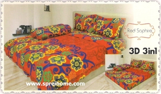 jual beli online Sprei Lady Rose 3D Red Saphire