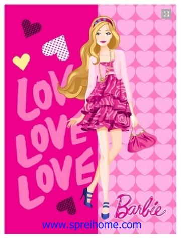 grosir gudang Selimut Rosanna Panel Barbie Love