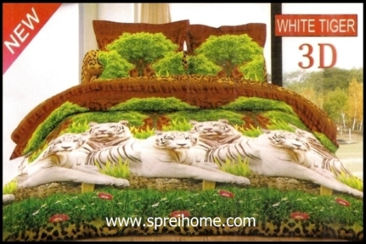 jual online sprei Bonita 3D White Tiger