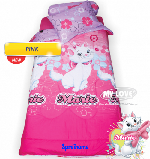 jual sprei my love anak motif karakter pink