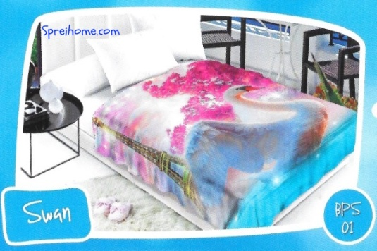 selimut bulu halus lembut blossom motif swan