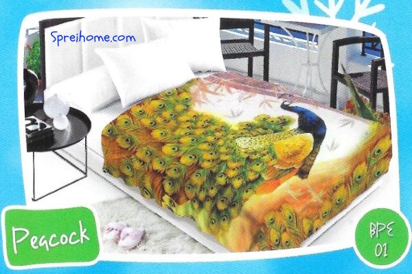 selimut bulu halus lembut blossom motif merak