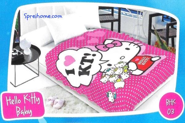 selimut bulu halus lembut blossom motif hello kitty