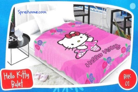 selimut bulu halus lembut blossom motif hello kitty 2