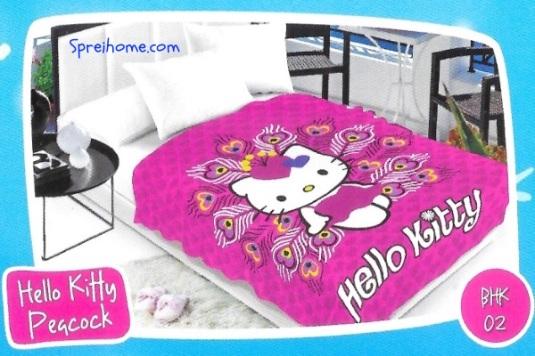 selimut bulu halus lembut blossom motif hello kitty merak