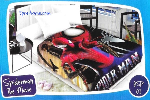 selimut bulu halus lembut blossom motif spiderman