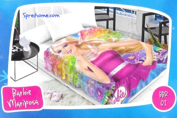 selimut bulu halus lembut blossom motif barbie