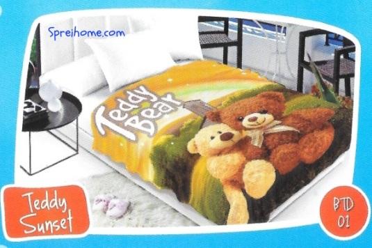 selimut bulu halus lembut blossom motif teddy bear